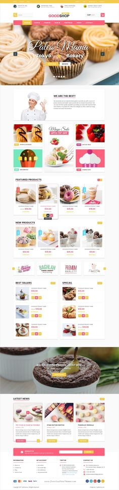 Good shop is a clean and unique design #PSD template for stunning #bakery or #cake shop eCommerce website download now➩ https://themeforest.net/item/good-shop-psd-template/19181608?ref=Datasata