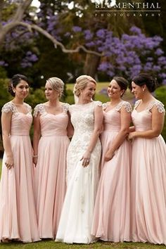 Blush colour - It seems like this waterfall style on the bridesmaids dresses works and is flattering for everybody, which is awesome. I really like it.