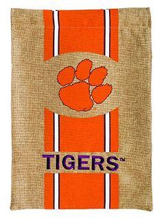 10010d063084 Burlap Clemson University Tigers Garden Flag