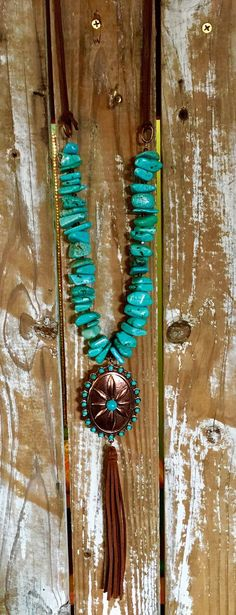 Turquoise Stone Concho Necklace