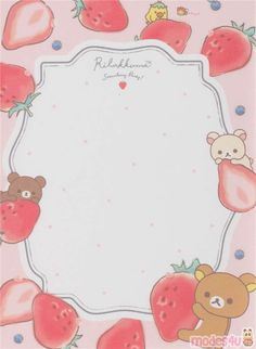 peach mini Rilakkuma and strawberry Note Pad from Japan - Memo Pads - Stationery - Kawaii Shop Bullet Journal Books, Bullet Journal Ideas Pages, Memo Template, Rilakkuma Wallpaper, Memo Notepad, Note Doodles, Note Memo, Printable Scrapbook Paper, Cute Notes