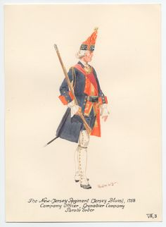 New Jersey Regiment(Jersey Blues), Company officer of the Grenadier Company, Parade order 1758 by Knotel