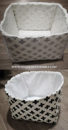 Learn how to make a fabric box with liner with our 3 free sewing patterns and our step by step tutorial. Amazing sewing project for your home organization! Fabric Box Pattern, Fabric Boxes Tutorial, Box Patterns, Sewing Patterns For Kids, Sewing Ideas, Fabric Storage Baskets, Sewing Baskets, Vintage Sewing Notions, Vintage Sewing Machines