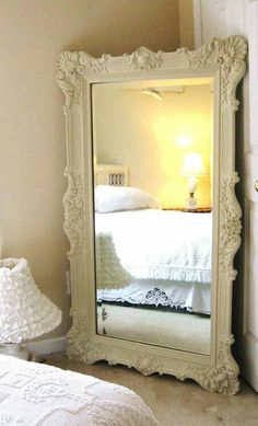 Mirror by bed... loving this piece. Always wanted one that I could paint a light pink. So glam