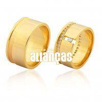Alianças de Noivado e Casamento em Ouro Amarelo 18k 0,750   - FA-1020