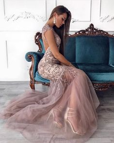 Image may contain: 1 person, sitting and indoor Long Bridesmaid Dresses, Formal Dresses, Gowns, Couture, Photo And Video, Sexy, Shopping, Vintage, Instagram