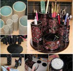 DIY makeup storage.