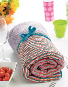 Stripy Picnic Blanket by Susie Johns - free knitting pattern