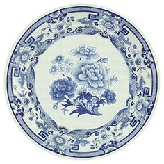 Entertaining with Caspari Dinner Plates, Blue and White, 8-Pack