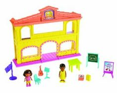 Dora the Explorer Playtime Together School Adventure House by Fisher Price. $41.96. Explore a day of school with Dora! This playset includes over 10 play pieces, including a desk, chair, easel, chalkboard, Dora and her teacher!