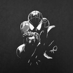 """Spidey"" - 12x12 white charcoal on black paper."