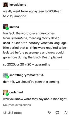 """History of the word """"Quarantine"""" Tumblr Funny, Funny Memes, Jokes, Haha, The More You Know, Tumblr Posts, Funny Cute, Funny Posts, Puns"""