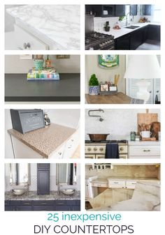 These 25 incredible DIY countertops prove you don't have to spend a lot of money to have a beautiful kitchen. Instead you can update your old countertops or build new ones with these creative countertop ideas including concrete countertops, wood countertops, painted laminate countertops, and more. Painting Laminate Countertops, Concrete Countertops, Kitchen Ideas, Kitchen Decor, Diy Kitchen Remodel, Beautiful Kitchens, Kitchen Organization, Money, Canning