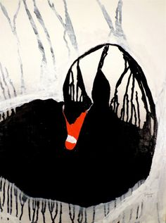 "Buy Black Swan, a Enamel on Paper by Joseph Laurro from United States. It portrays: Animal, relevant to: bird, birds, swan, black swan, animals, the black swan, nature Black Swan, enamel paint on paper 18""x24"""