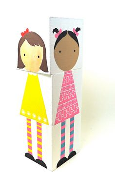 Wooden Mix and Match Doll Blocks by abbyjac on Etsy The Block, Diy Arts And Crafts, Fun Crafts, Crafts For Kids, Pinterest Board, Creative Activities For Kids, Cool Mom Picks, New Children's Books, Best Kids Toys