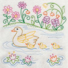Ducks in a Row (Vintage) design (J6280) from www.Emblibrary.com