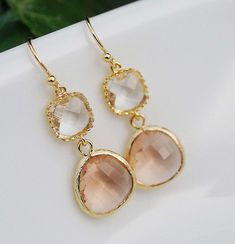 Wedding Jewelry Bridesmaid Earrings Dangle Earrings Gold Framed clear white and peach glass drop Earrings
