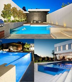 Pool with a glass wall