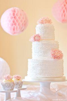 Ruffles & Dahlias Cake by http://sugarruffles.co.uk