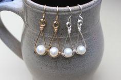 Pearl Drop Earrings Pearl Dangle Earrings