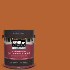 BEHR Premium Plus Ultra 1-gal. #250D-7 Caramelized Orange Flat Exterior Paint