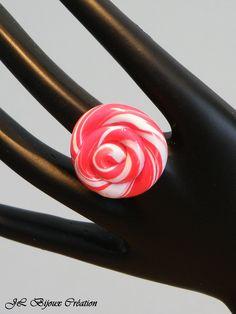 Bague bonbon sucette spirale en fimo réglable : Bague par jl-bijoux-creation
