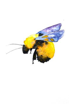 Original watercolor painting of a bumble bee. Lovely rich yellows combined with touches of purple make this a delicate little painting with a nice