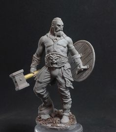 The Old Barbarian by Freeman · Putty&Paint 3d Character, Character Design, Character Concept, Anatomy Sculpture, Warrior Drawing, Modelos 3d, Fantasy Miniatures, 3d Prints, Drawing Poses