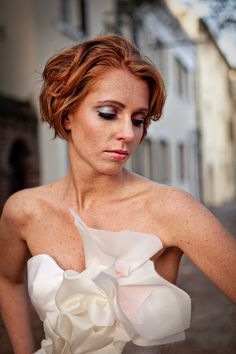 Freckles and Red Hair in a wedding dress = True Raw Beauty!