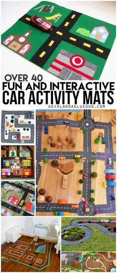 over 40 fun and interactive car activity mats --lots of awesome diy and crafts that you can make at home Car Play Mats, Car Mats, Fun Crafts, Diy And Crafts, Crafts For Kids, Shoebox Crafts, Car Activities, Activity Mat, Giant Paper Flowers