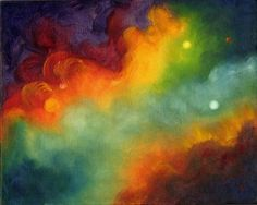 Artists representation of the solar storm. Painting by Marina Petro.