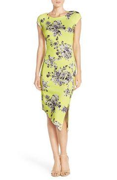 ECI Floral Print Scuba Sheath Dress