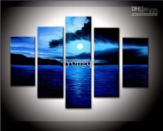 Rising Moon frem Sea at Night Abstract Wall Canvas Art Sets Painting for Home Decoration Hand Painted Oil Painting Modern Art Large Canvas Wall Art 5 Piece Canvas Art Unstretch and No Frame 5 Piece Canvas Art, Large Canvas Art, Canvas Wall Art, Framed Canvas, Canvas Size, Hand Painted Walls, Painted Wood, Oil Painting Abstract, Painting Canvas