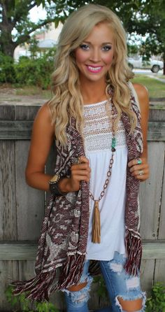 Get an extra 10% off with code KELSEYR10 at checkout! http://www.thelacecactus.com/burgandy-and-ivory-fringe-vest/