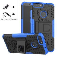 Amazon.com: Huawei P Smart case,LiuShan Shockproof Heavy Duty Combo Hybrid Rugged Dual Layer Grip Cover with Kickstand for Huawei P Smart Smartphone (with 4in1 Packaged),Blue: Gateway