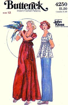 Butterick 4250 Vintage Sewing Pattern DREAMY Young Designer John Kloss (Made this in white w/a beautiful blue print sheer to go over it. Turned out real nice. Vintage Outfits, Vintage Fashion, Retro Fashion, Vintage Dresses, Vintage Clothes 70s, Biba Fashion, Vintage Dress Patterns, Clothing Patterns, Blog Couture