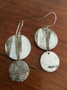Natural birch bark earring with hand crafted Sterling 20 gauge Sterling silver. Watersedgeme.com