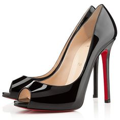 Black Christian Louboutin Flo Peep Toe Pumps 120mm