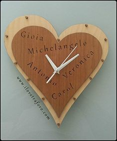 Orologio cuore in Legno compensato di ciliegio e betulla, traforato, decorato e dipinto: Amazon.it: Handmade