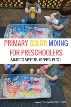 color mixing activity for preschoolers! This art activity is perfect for science, your next sensory bin, or preschool center time. Preschool Color Theme, Preschool Color Activities, Preschool Classroom, Preschool Learning, Learning Activities, Toddler Activities, Preschool Ideas, Classroom Ideas, Painting Activities