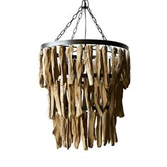 This unique chandelier is a sight to behold. Featuring pieces of driftwood in three tiered layers, it's the ultimate statement piece for any coastal chic room.  Find the Dangling Driftwood Chandelier, as seen in the Venice Beach Bungalow Collection at http://dotandbo.com/collections/venice-beach-bungalow?utm_source=pinterest&utm_medium=organic&db_sku=108258