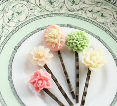 Pastel Bobby Pins, Floral Hair Accessories, Set of Five(5). , via Etsy.