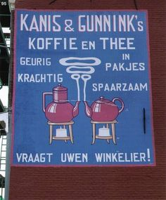 Knis & Gunnink Koffie en Thee restored advertising ghost sign (aging handpainted sign on wall of building, early to mid 20th century) for coffee and tea house in Kampen, The Netherlands/Holland