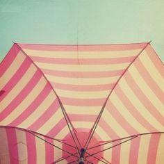 81ac639c98 pink with aqua sky by thelma Beach Umbrella