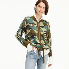 women's camo bomber - women's sweaters