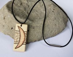 Wood Moon Necklace Black Leather Cord Lunar Pendant by SepiaTree, $29.99 #moon, #necklace, #pendant