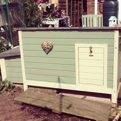 Chicken coop painted in Cuprinol garden shades 'willow' and 'country cream' Backyard Chicken Coops, Chickens Backyard, Shed Colours, Paint Colours, Cuprinol Garden Shades, Painted Shed, Bbq Hut, Wendy House, English Country Gardens