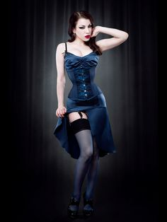Blue Contrast Seam Stockings - Kiss Me Deadly