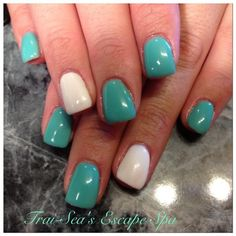 Seafoam Green with white accent nail by TraiSeasEscape from Nail Art Gallery