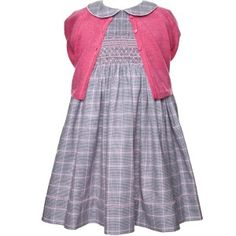 Teapots Print Cotton Flannel Smocked Dress for Girls